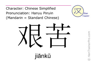 Chinese characters  ( jianku / jiānkŭ ) with pronunciation (English translation: difficult )