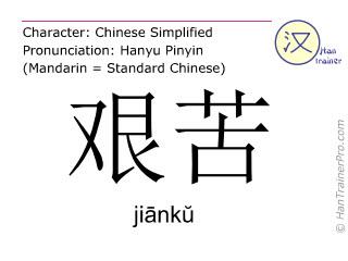 Caractère chinois  ( jianku / jiānkŭ ) avec prononciation (traduction française: dur )
