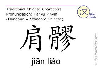 Caractère chinois  ( jian liao / jiān liáo ) avec prononciation (traduction française: trois foyers 14 )