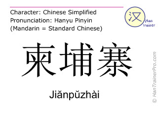 Caractère chinois  ( Jianpuzhai / Jiănpŭzhài ) avec prononciation (traduction française: Cambodge )