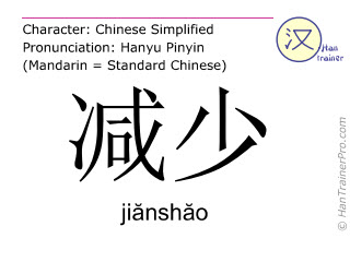 Caracteres chinos  ( jianshao / jiănshăo ) con pronunciación (traducción española: reducir )
