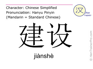 Chinese characters  ( jianshe / jiànshè ) with pronunciation (English translation: to construct )