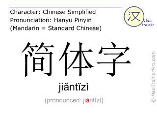 Chinesische Schriftzeichen  ( jiantizi / jiăntĭzì ) mit Aussprache (Deutsche Bedeutung: Kurzzeichen )