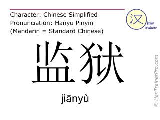 汉字  ( jianyu / jiānyù ) 包括发音 (英文翻译: prison )
