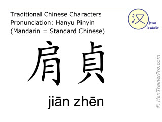 Chinese characters  ( jian zhen / jiān zhēn ) with pronunciation (English translation: Small Intestine 9 )