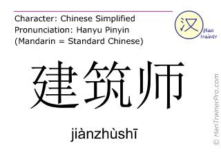 Chinesische Schriftzeichen  ( jianzhushi / jiànzhùshī ) mit Aussprache (Deutsche Bedeutung: Architekt )