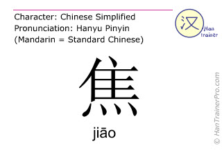 Chinese characters  ( jiao / ji&#257;o ) with pronunciation (English translation: <m>anxious</m> )