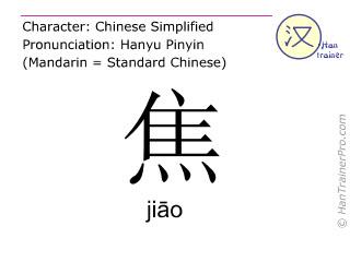 Caracteres chinos  ( jiao / jiāo ) con pronunciación (traducción española: preocuparse )