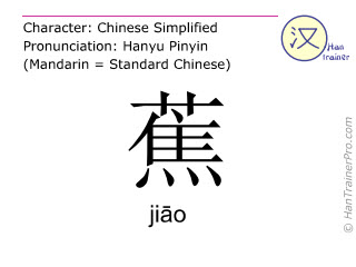 Chinese characters  ( jiao / jiāo ) with pronunciation (English translation: banana )