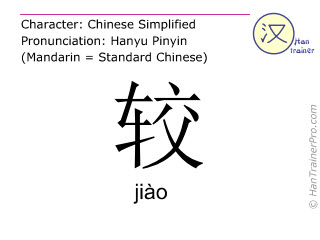Chinese characters  ( jiao / jiào ) with pronunciation (English translation: to compare )