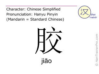 Chinese characters  ( jiao / ji&#257o ) with pronunciation (English translation: glue )