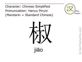 Chinese characters  ( jiao / jiāo ) with pronunciation (English translation: pepper )