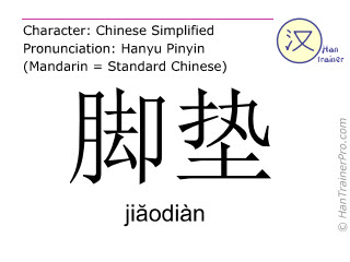 Chinese characters  ( jiaodian / jiăodiàn ) with pronunciation (English translation: floor mat )