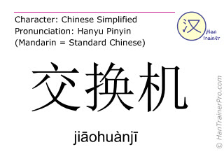 Chinese characters  ( jiaohuanji / jiāohuànjī ) with pronunciation (English translation: switch )