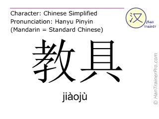 Caracteres chinos  ( jiaoju / jiàojù ) con pronunciación (traducción española: material didáctico )