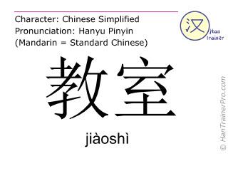 Chinese characters  ( jiaoshi / jiàoshì ) with pronunciation (English translation: classroom )