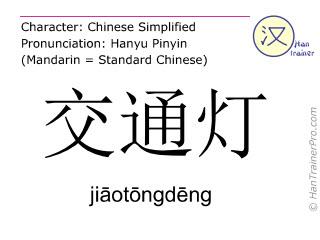 Chinese characters  ( jiaotongdeng / ji&#257ot&#333ngd&#275ng ) with pronunciation (English translation: traffic light )