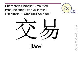 Caractère chinois  ( jiaoyi / jiāoyì ) avec prononciation (traduction française: affaire )