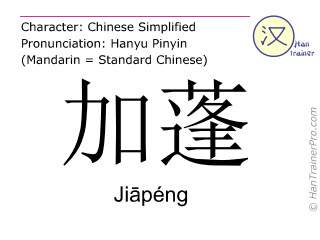 Chinese characters  ( Jiapeng / Jiāpéng ) with pronunciation (English translation: Gabon )