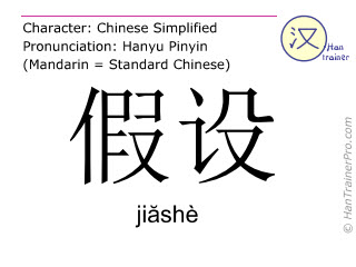 Chinese characters  ( jiashe / jiăshè ) with pronunciation (English translation: to assume )