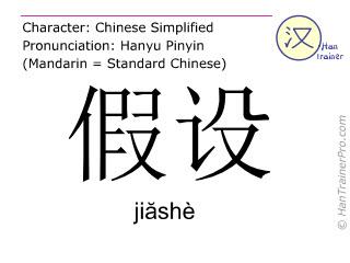 Chinese characters  ( jiashe / ji&#259shè ) with pronunciation (English translation: to assume )