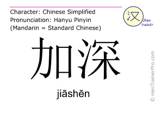 Chinese characters  ( jiashen / jiāshēn ) with pronunciation (English translation: to deepen )