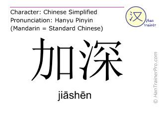 Caractère chinois  ( jiashen / jiāshēn ) avec prononciation (traduction française: approfondir )