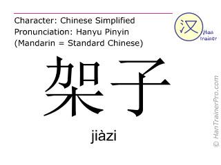 Chinesische Schriftzeichen  ( jiazi / jiàzi ) mit Aussprache (Deutsche Bedeutung: Regal )