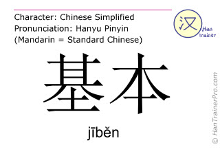 Chinese characters  ( jiben / jībĕn ) with pronunciation (English translation: basic )