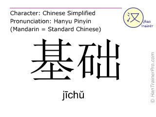 Chinesische Schriftzeichen  ( jichu / jīchŭ ) mit Aussprache (Deutsche Bedeutung: Grundlage )