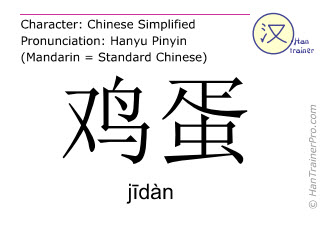 Chinese characters  ( jidan / jīdàn ) with pronunciation (English translation: hen's egg )