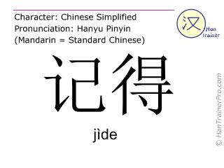 Chinesische Schriftzeichen  ( jide / jìde ) mit Aussprache (Deutsche Bedeutung: sich an jemanden/etwas erinnern )