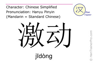 Chinese characters  ( jidong / j&#299dòng ) with pronunciation (English translation: excited )