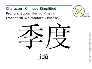 Chinese characters  ( jidu / jìdù ) with pronunciation (English translation: quarter )