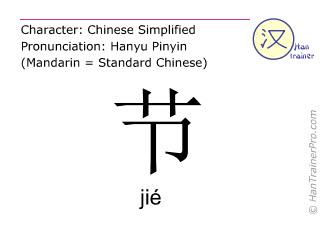 Caracteres chinos  ( jie / jié ) con pronunciación (traducción española: festival )
