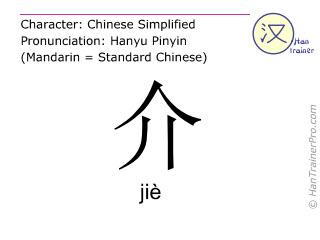 汉字  ( jie / jiè ) 包括发音 (英文翻译: to introduce )