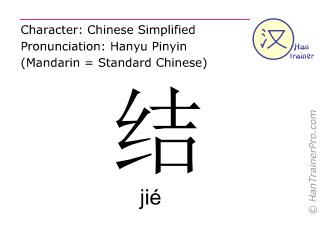 Chinesische Schriftzeichen  ( jie / jié ) mit Aussprache (Deutsche Bedeutung: knüpfen )