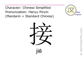 Chinese characters  ( jie / ji&#275 ) with pronunciation (English translation: to pick up )