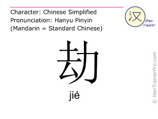 Chinese characters  ( jie / jié ) with pronunciation (English translation: to snatch )
