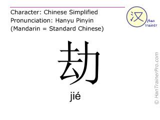 Chinesische Schriftzeichen  ( jie / jié ) mit Aussprache (Deutsche Bedeutung: rauben )