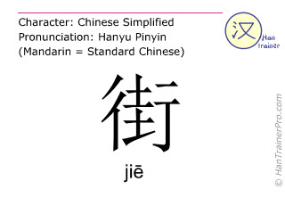 Chinese characters  ( jie / ji&#275 ) with pronunciation (English translation: street )