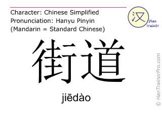 Chinesische Schriftzeichen  ( jiedao / jiēdào ) mit Aussprache (Deutsche Bedeutung: Straße )