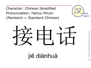 Chinese characters  ( jie dianhua / jiē diànhuà ) with pronunciation (English translation: to receive a call )