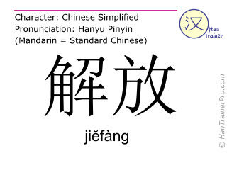 Chinese characters  ( jiefang / jiĕfàng ) with pronunciation (English translation: to liberate )