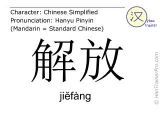 汉字  ( jiefang / ji&#277fàng ) 包括发音 (英文翻译: to liberate )