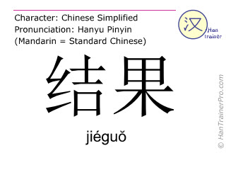 Chinese characters  ( jieguo / jiéguŏ ) with pronunciation (English translation: result )