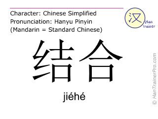 Caractère chinois  ( jiehe / jiéhé ) avec prononciation (traduction française: combiner )
