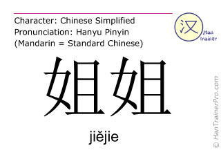 Chinese characters  ( jiejie / jiĕjie ) with pronunciation (English translation: older sister )