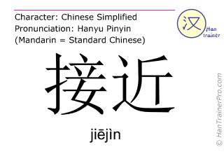 Caractère chinois  ( jiejin / jiējìn ) avec prononciation (traduction française: s'approcher )