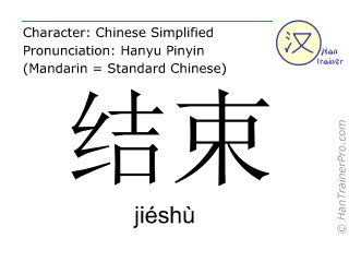 Chinese characters  ( jieshu / jiéshù ) with pronunciation (English translation: to end )